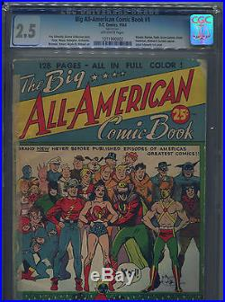 1944 The Big All American Comic Book DC Cgc 2.5 Ow Pages Flash Wonder Woman Atom