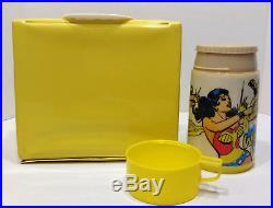 1977 Wonder Woman Vinyl Lunch Box with Thermos DC Comics Superheroes Rare Yellow