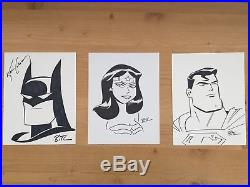 Bruce Timm Signed Sketches Batman Wonderwoman Superman Trinity Justice League