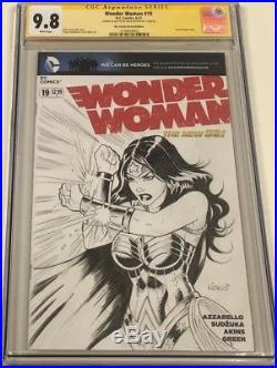 DC Wonder Woman #19 OA Sketch Blank Signed & Sketched by Alex Kotkin CGC 9.8 SS
