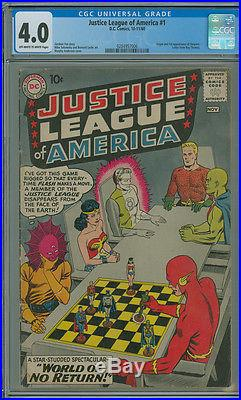 Justice League of America 1 CGC 4.0 VG OWithW DC 1960 Flash Wonder Woman Aquaman