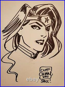 New Wonder Woman Sketch By Cliff Chiang Original Art 8.5×11 SDCC 2011 Signed
