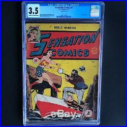 SENSATION COMICS #3 (1942) CGC 3.5 ONLY 18 in CENSUS! Early Wonder Woman