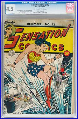 Sensation Comics #12 (1942) CGC 4.5 OW-W Pages Wonder Woman DC WWII Cover