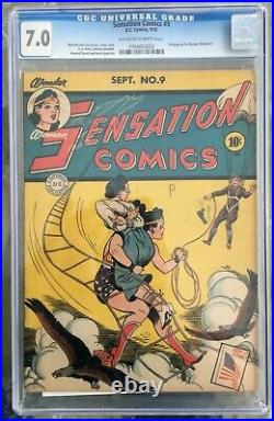 Sensation Comics #9 (1942) CGC 7.0 - O/w to white pages Ad for Wonder Woman #1
