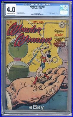 Wonder Woman #31 Cgc Graded Vg 4.0 2 Page Feature On Jenny Lind 1948