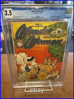 Wonder Woman #3 CGC 3.5 1943 Gourgous Colors and Off-White To White Pages! Look