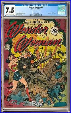 Wonder Woman #5 CGC 7.5 (OW-W) 1st Appearance of Dr. Psycho