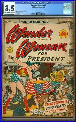 Wonder Woman #7 CGC 3.5 LT/OW WW for President! Yes Please! A Beauty