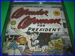 Wonder Woman #7 CGC. 5 with WHITE PAGES from 1943! WW for President not CBCS 0.5