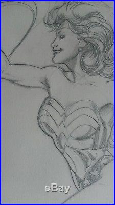 Wonder Woman Adam Hughes signed original pencil drawing from 1989 Justice League