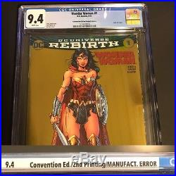 Wonder Woman DC NYCC Gold Foil ERROR Variant #1 CGC 9.4 NM Lee