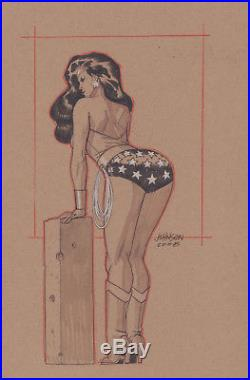 Wonder Woman Sexy Rear Commission 2008 Signed art by Dave Johnson